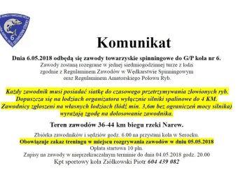 KOMUNIKAT - SPININGOWE ZAWODY 06.05.2018