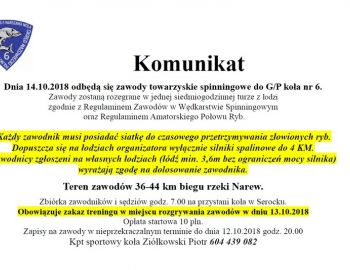 KOMUNIKAT - SPININGOWE GPX 14-10-2018